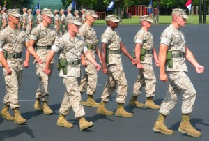 If you've never been to a military event, you should know there's always a lot of marching involved.