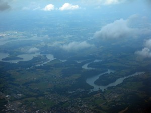 Actual view from our tiny plane as we flew over Tennessee.